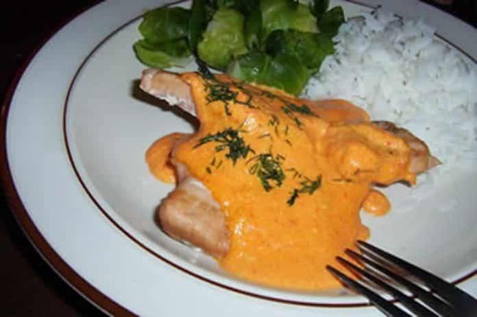 saumon avec sauce au poivron avec cookeo
