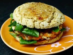 hamburger de poulet avec galettes de riz facile