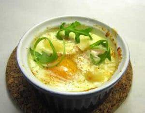 oeuf cocotte fromage et lardons avec cookeo