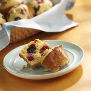 muffin polenta citron framboises