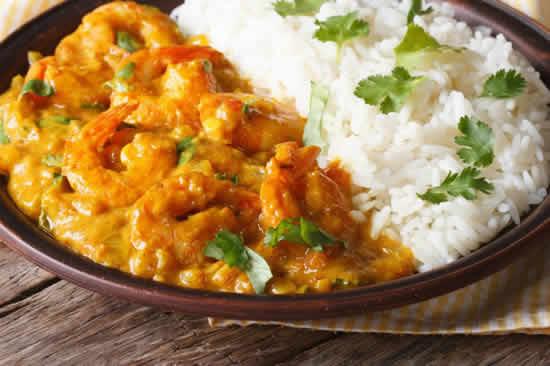 Crevettes au curry et lait de coco avec cookeo