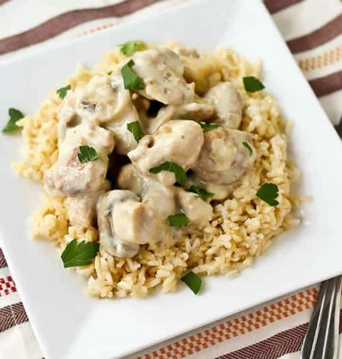 Poulet au champignons creme fraiche et riz avec cookeo