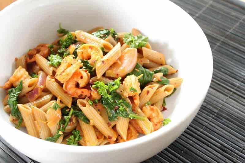 Pates aux crevettes cookeo un d ner facile cuisiner - Pates aux fruits de mer vin blanc ...
