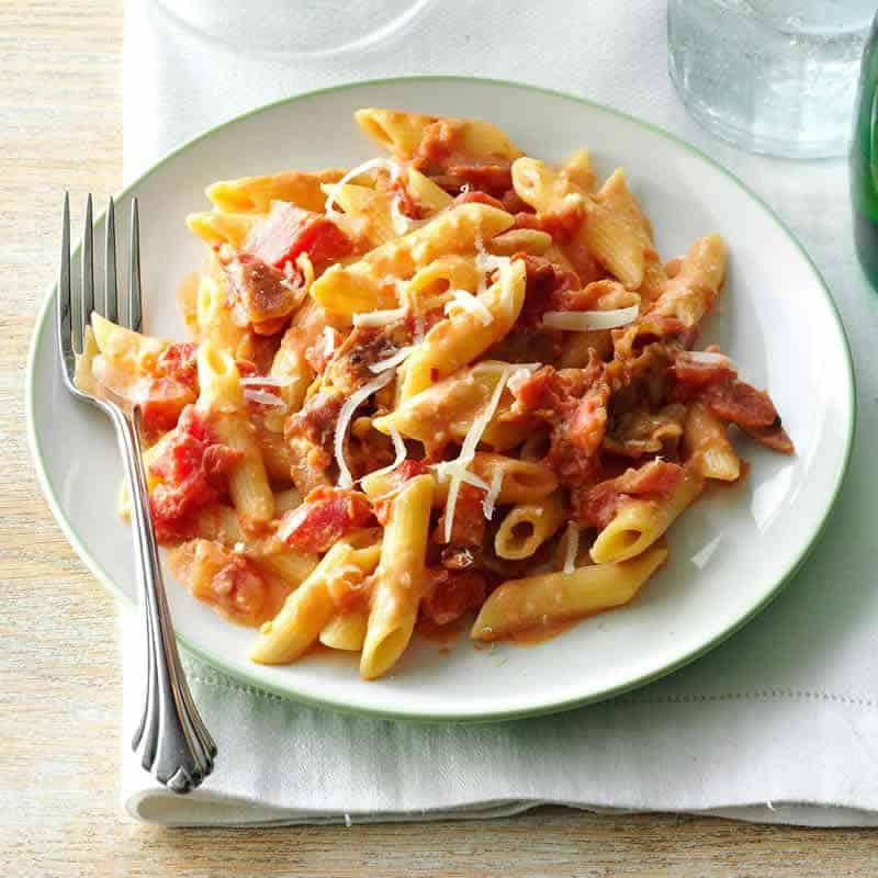 penne aux tomates jambon cookeo - un délicieux plat de pates.