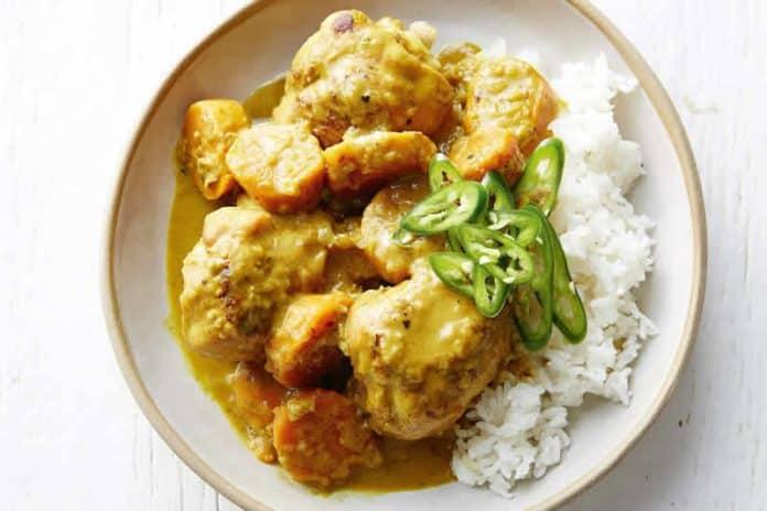 Plat de poulet curry cookeo