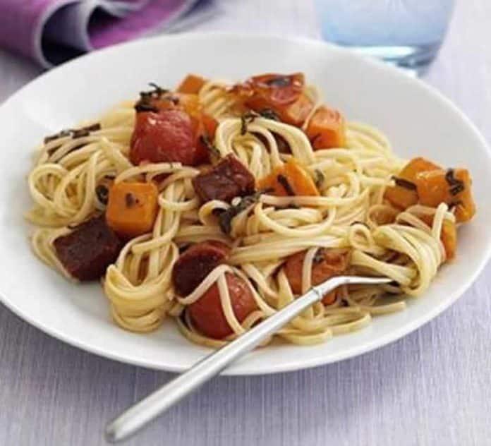 Spaghetti lardons chorizo cookeo
