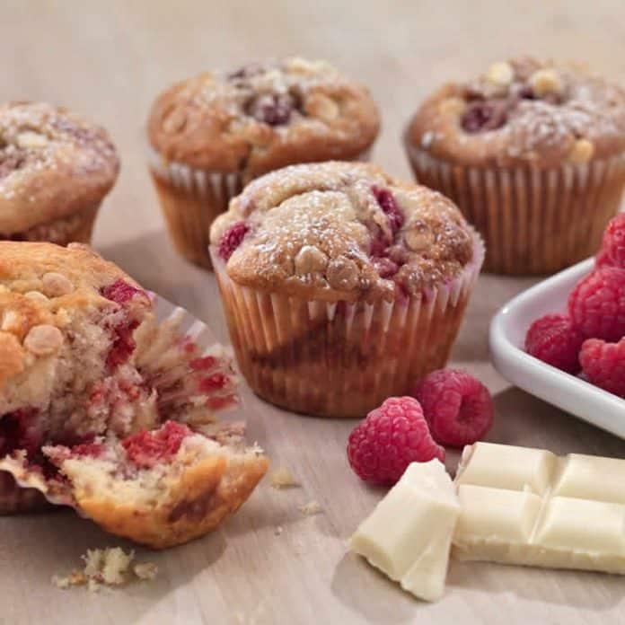 Muffins au chocolat blanc et framboises au thermomix