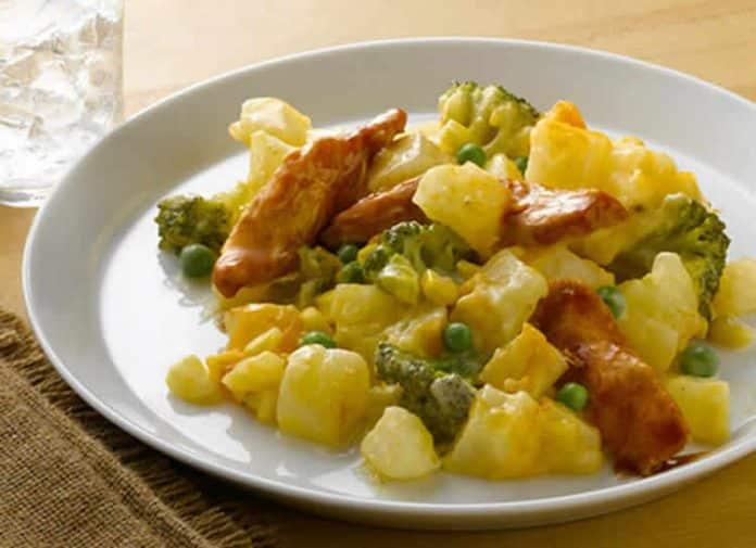 Poulet aux pomme de terre brocoli et petits pois cookeo