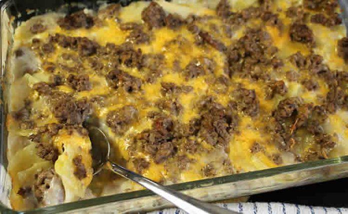Pommes de terre cheddar et steak haché cookeo