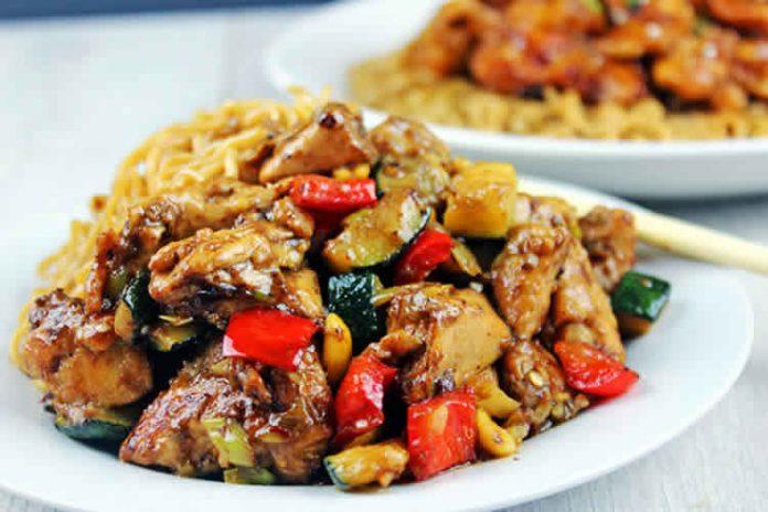 Poulet aux courgette et poivron cookeo recette cookeo - Cuisiner aiguillette de poulet ...