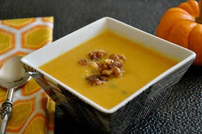 Soupe de courge butternut curry et amandes au thermomix