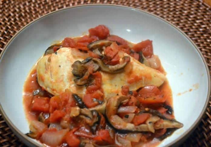 Poulet aux champignons et tomates au cookeo