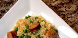 Risotto avec saucisses et petits pois au cookeo