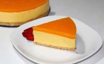 Cheesecake orange au coulis de mangue avec thermomix