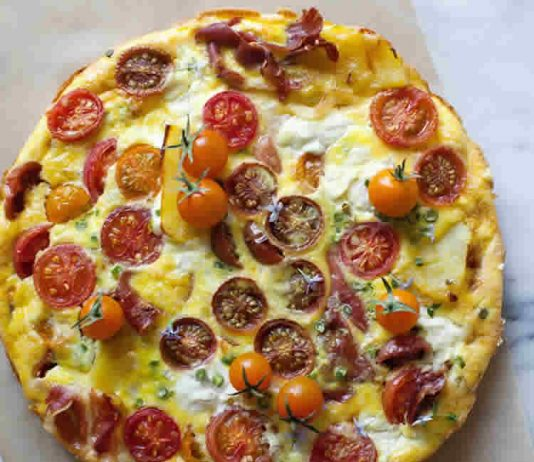 Frittata aux tomates cerises jambon et ricotta