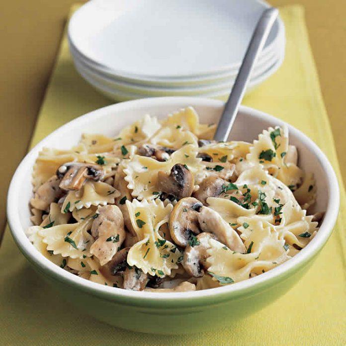 Poulet et champignons avec pâtes au cookeo