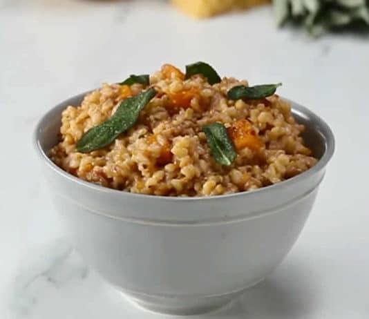 Courge butternut et riz au four