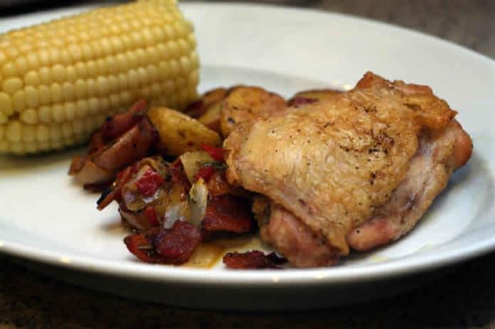 Cuisses de poulet pomme de terre lardon au Cookeo