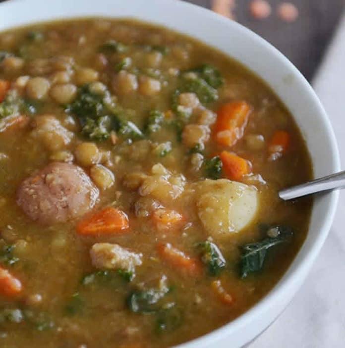 Lentilles pommes de terre et saucisse au cookeo