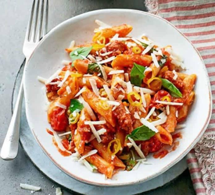 One pot pasta chorizo poivrons et tomates au cookeo