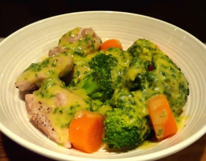 Poulet aux légumes sauce poireaux et moutarde au thermomix