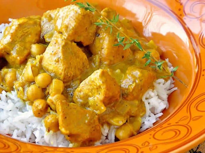 Recette escalope de poulet au pois chiches et curry ww