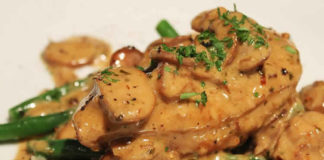Recette filet de poulet et champignons à la sauce du beurre ww