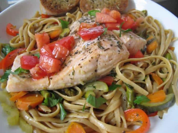 Recette one pot pasta saumon et légumes ww