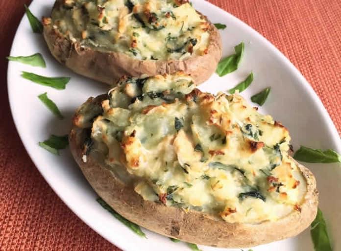 Recette pommes de terre farcies au saumon et crème ww