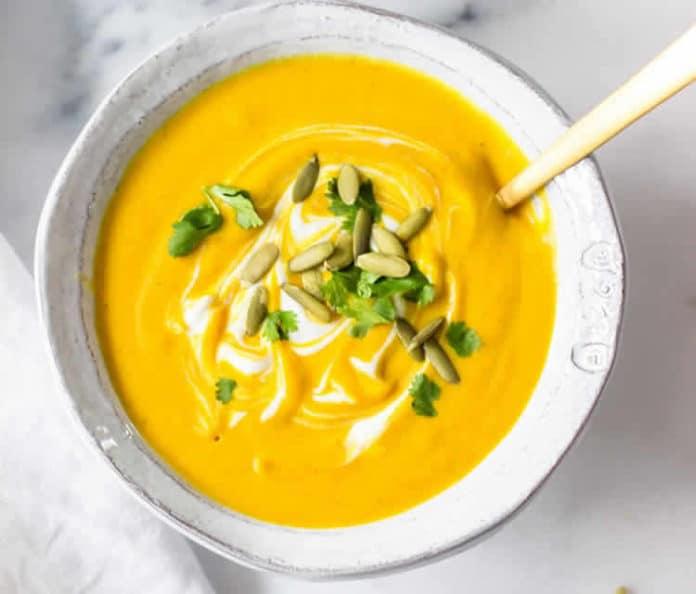Soupe de butternut lait de coco curry au thermomix