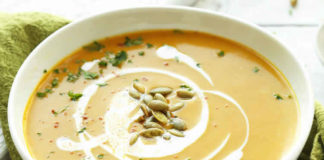Soupe de butternut lait de coco et curry