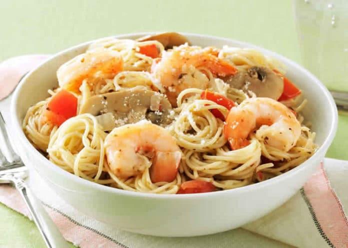 Spaghetti champignons et crevettes au cookeo