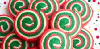 Biscuits spirales tricolores de Noël