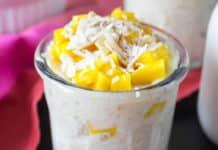 Dessert thaïlandais riz au lait de coco et mangue au cookeo