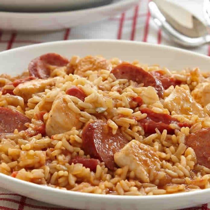 Riz poulet et saucisse