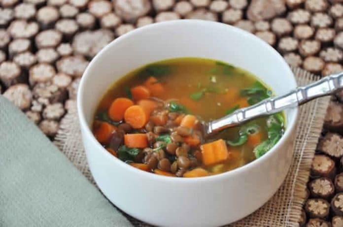 Soupe épinards et lentilles au thermomix
