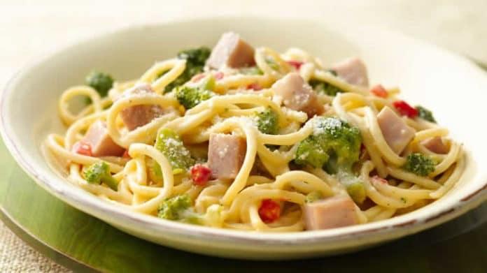 spaghettis au brocolis et jambon au thermomix