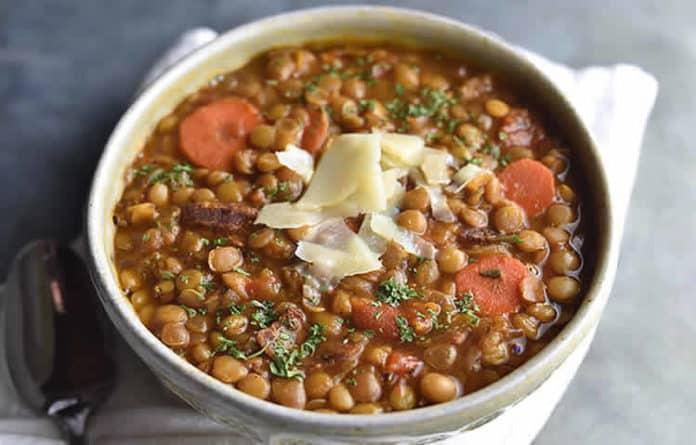 Lentilles aux carottes et lardons au cookeo