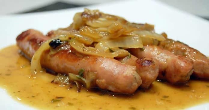 saucisses aux oignons et vin au thermomix