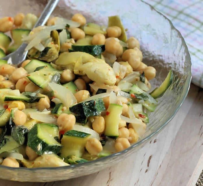 Recette salade de courgettes et pois chiches ww