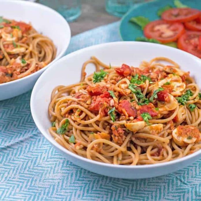 spaghettis au thon et champignons au cookeo