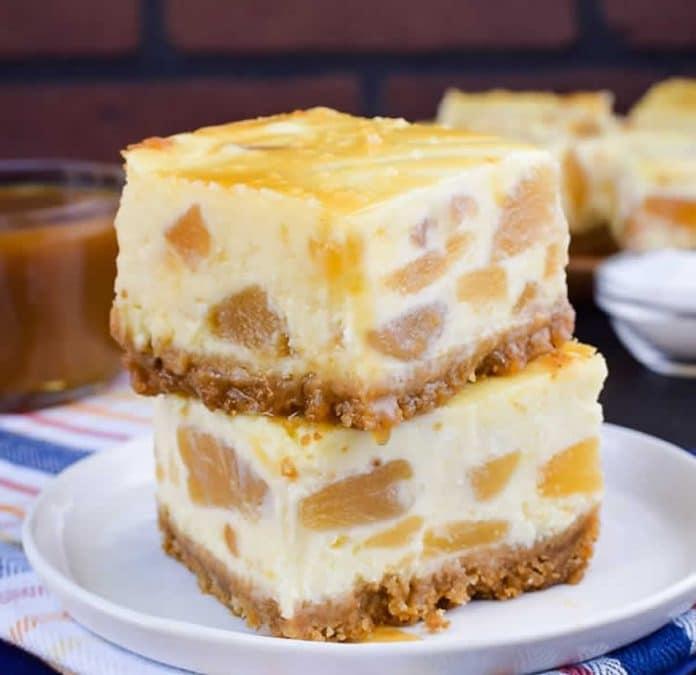 Carrés cheesecake aux pommes