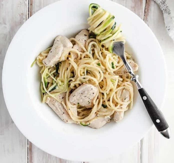 Spaghettis au poulet et courgette ww