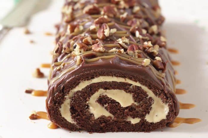 Bûche de noël au chocolat et au caramel