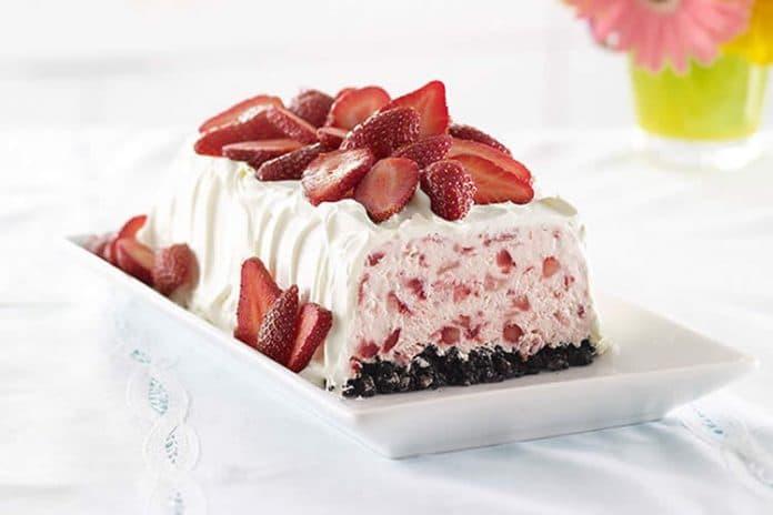 Bûche glacée aux fraises au thermomix