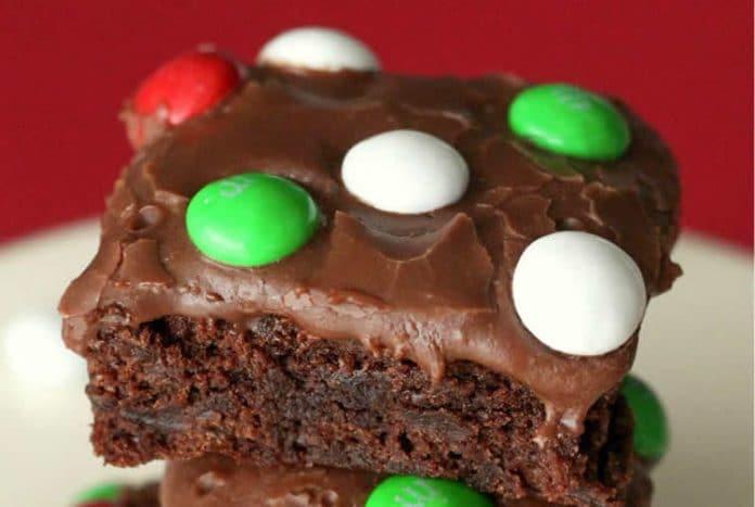 Brownies aux M&M's et glaçage au chocolat