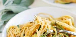 Spaghetti à la crème de butternut et courgette