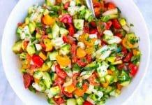 Salade de tomate oignon et concombre