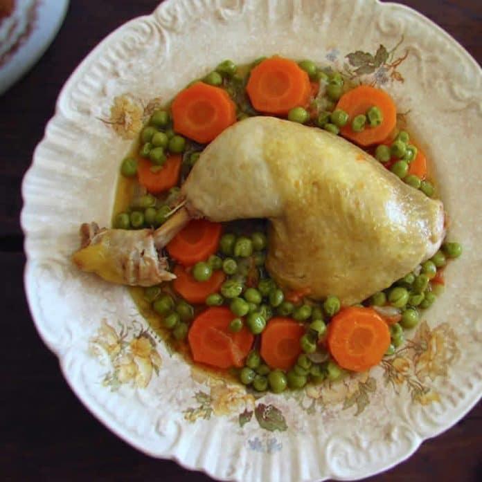 Poulet aux carottes et pois au cookeo