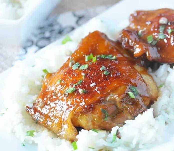 Poulet au caramel et soja au cookeo